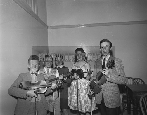28th May 1962; Students from Michael O'Duinns Violin Class who received an average of 90% in the Royal Irish Academy of Music Examinations.