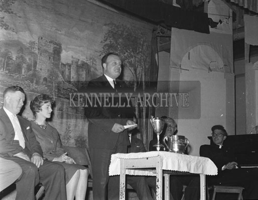 3rd June 1962; Members of the Brosna Players being presented with trophies after a very successful season by winning the All-Ireland Open in Athlone as well as the production award for their staging of the play 'Pot of Broth'.