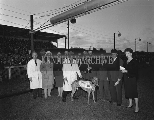 17th June 1962; A photo of the winning dog 'Fairy Spell' surrounded by a group of people including the owner Mr P. O' Connor who is holding the trophy.