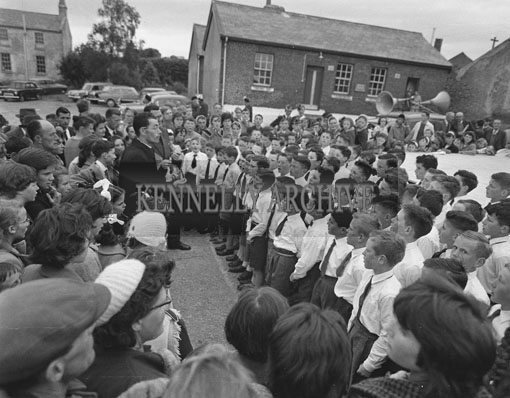 19th June 1962; A schoolboy choir at the Kingdom County Fair in Ballymullen Barracks, Tralee.