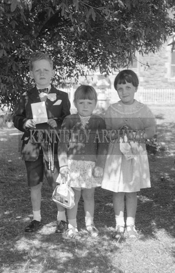 September 1962; A photo of a group of children taken on Communion Day in Castleisland.