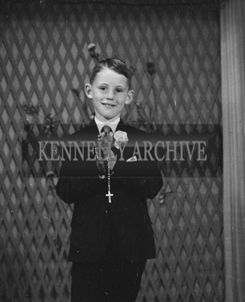 September 1962; A Communion photo of a boy taken at the studio in Tralee.