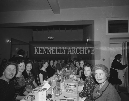 December 1962; Members of the Tralee Irish Countrywomen's Association pose for the camera at a dinner which took place at the Meadowlands Hotel.