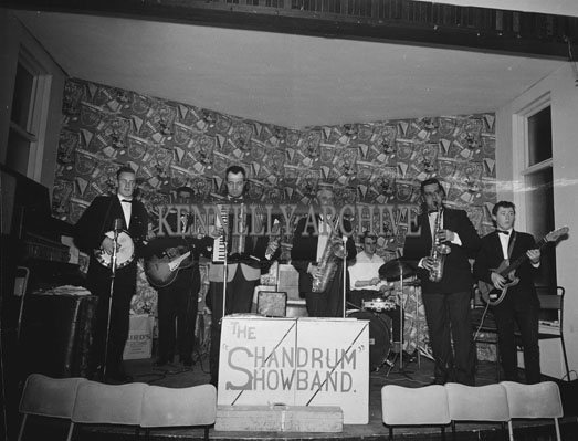 7th December 1962; The Shandrum Showband on stage at a dance which took place at the Hotel Manhattan.