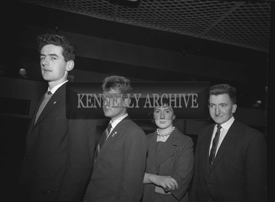 December 1962; A photo of the Brosna debating team who were crowned Kerry Champions at the Macra Na Feirme Competition. Team members included: Ita O'Flynn, L O'Connor, E Casey and D Roche.