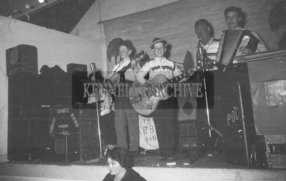 2nd November 1962; The Abbey Dance Band onstage at a dance which took place in Scartaglin.