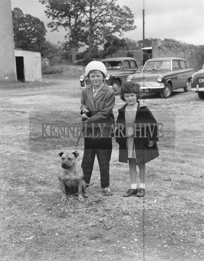 21st June 1962; Two children pose for the camera with their dog during the Showjumping events which took place at the Kingdom County Fair at Ballymullen Barracks.
