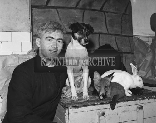 September 1962; A priest from St Joseph's Industrial School poses for the camera with Sandy The Fox, Darkie the Labrador, Landy The Terrier and Hopper The Rabbit.  These natural enemies live happy together in St Joseph's in Tralee.
