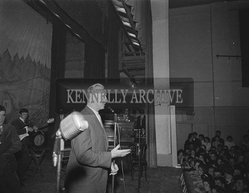 23rd July 1962; A photo taken of the stage at Adam Faith concert at the CYMS Hall in Tralee.