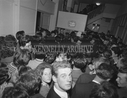 23rd July 1962; A crowd photo taken at an Adam Faith Concert which took place at the CYMS Hall in Tralee.