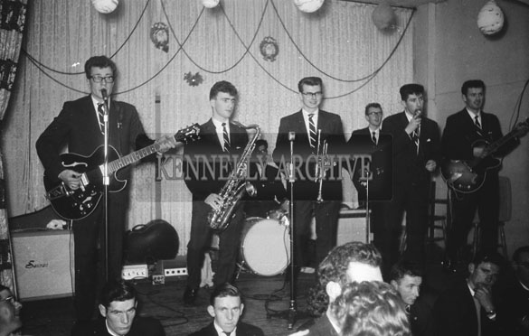 19th December 1962; The band performing on stage at a dance which took place in Ballyheigue.