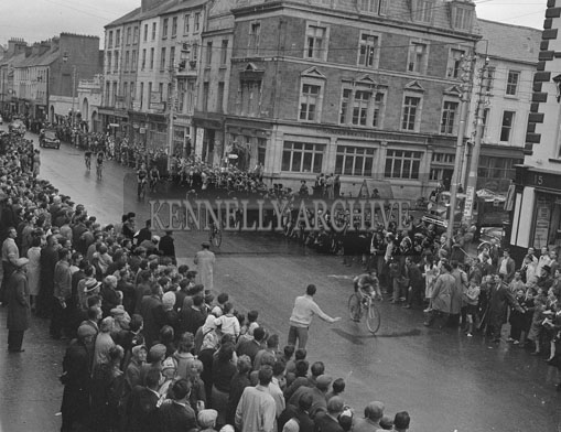 9th August 1962; Stage 5 of the Rás Tailteann arrives in Tralee from Dublin. The winner of the stage was S. Cullen from Dublin.