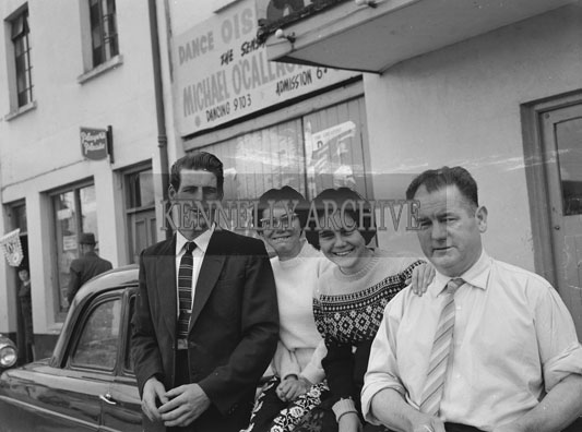 10th-12th August 1962; A group of people pose for the camera at Puck Fair in Killorglin.