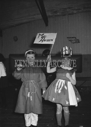 30th December 1962; Children who took plart in the Festival Of Kerry Fancy Dress poses for the camera in costume at the CIE Hall in Tralee.