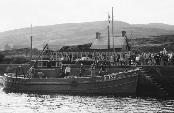 25th August 1962; A boat on the pier during the European Offshore Angling Competition which took place off the coast of Caherciveen.
