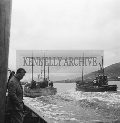 25th August 1962; Two boats at sea during the European Offshore Angling Competition which took place off the coast of Caherciveen.