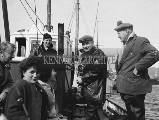 25th August 1962; A group of people pose for the camera during the European Offshore Angling Competition which took place off the coast of Caherciveen.
