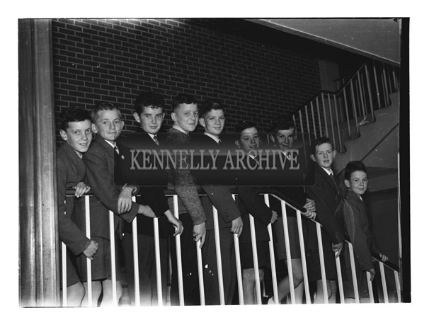 September 1962; Students from the CBS Primary School in Tralee pose for the camera inside the school in Clounalour.