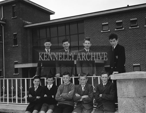 September 1962; Students from the CBS Primary School in Tralee pose for the camera outside the school in Clounalour.