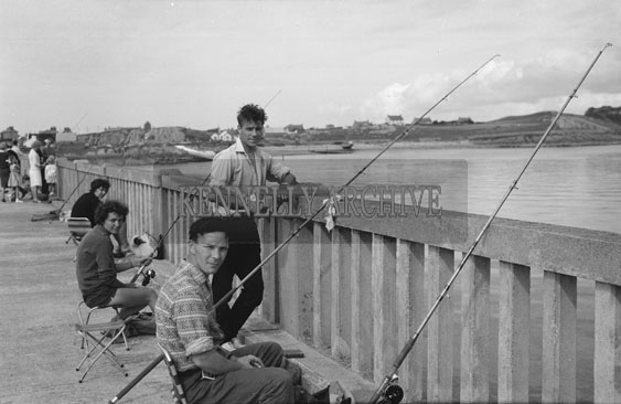2nd September 1962: Contestants in the Gold Flake Perpetual Trophy Sea Angling Competition which took place at the Pier in Fenit.