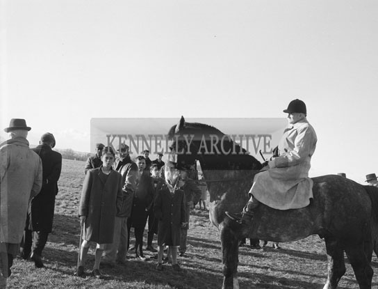 27th December 1962; The judge at the Kingdom Cup coursing meeting in Ballybeggan Racing Track. The Racing resumed after the Kingdom Cup had been abandoned due to frost on the ground earlier in the day and a subsequent protest by the greyhound owners as they considered the ground to be too hard.