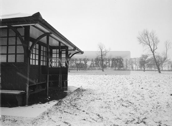 30th December 1962; A photo taken in the Town Park during a fall of snow.