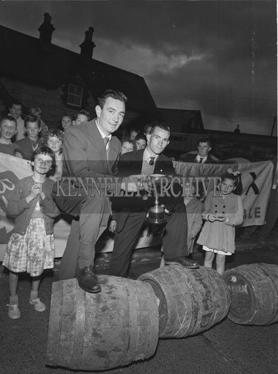 6th September 1962; The winners of the Barrel Rolling Race pose for the camera at railway terrace.