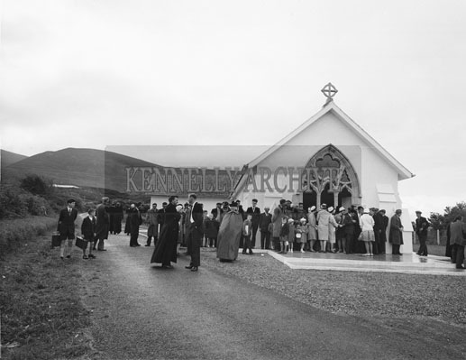16th September; Curaheen Church was blessed and dedicated by the Rev Dr Denis Moynihan, Bishop of Kerry. The church was built on a Commonage about in the famine times and had been renovated and reconstructed at a cost of approximately £10,000.