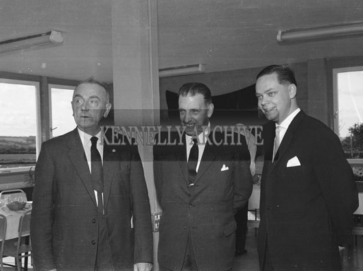 26th September 1962; A photo taken at the opening of Jowika Ltd which manufactured cutlery for export at Cahirdown in Listowel. The factory was blessed by the Reverend Peter Canon O'Sullivan and was officially declared open by An Taoiseach Sean Lemass (centre). Owner Henry Weber is on the right of the photo.