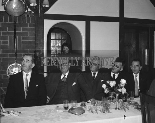 6th October 1962; The ESB Basketball Club Dinner which took place at Benners Hotel. The Tom Collins Perpetual Tropy was presented by the club to Commandant Michael Heffernan, President of the Amateur Basketball Association of Ireland for competition in the All Ireland Senior Championship. A special presentation was also made to Mr. Tom Collins to mark his retirement from the ESB staff.