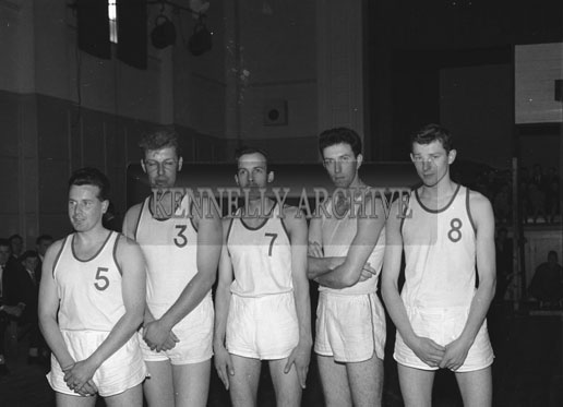 14th October 1962; The Antrim Basketball Team who were beaten by Kerry 47 points to 42 points at the National Basketball League Final which was held at the CYMS Hall in Tralee.