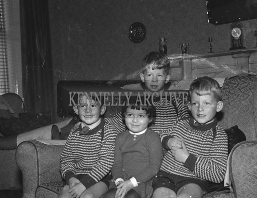 October 1962; The O'Sullivan children pose for a photograph at home in Rock Street, Tralee.