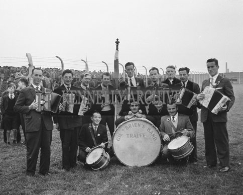 21st October 1962; Gil O'Briens Band taken at the Senior County Football Final between Feale Rangers and John Mitchels. The game ended in a draw with the final score John Mitchels 1-11 and Feale Rangers 2-8.