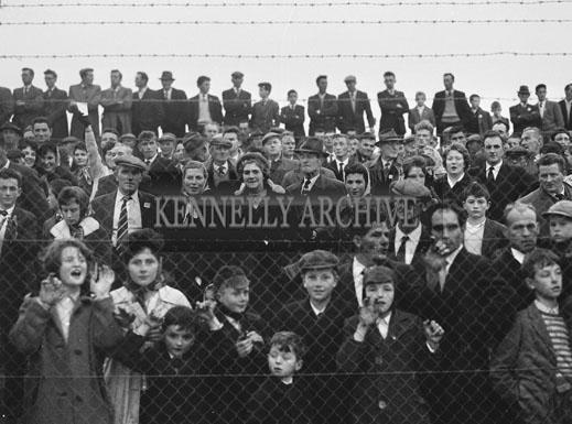 21st October 1962; A crowd photo taken at the Senior County Football Final between Feale Rangers and John Mitchels. The game ended in a draw with the final score John Mitchels 1-11 and Feale Rangers 2-8.