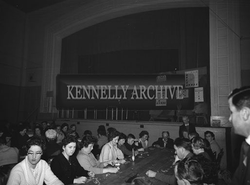 October 1962; A photo taken on Bingo night at the CYMS Hall in Tralee.