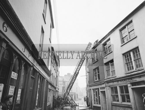 23rd October 1962; The Fire Brigade battled a fire at the licensed premises and provision store of Mr Patrick J Cournane on Lower Bridge Street in Tralee.