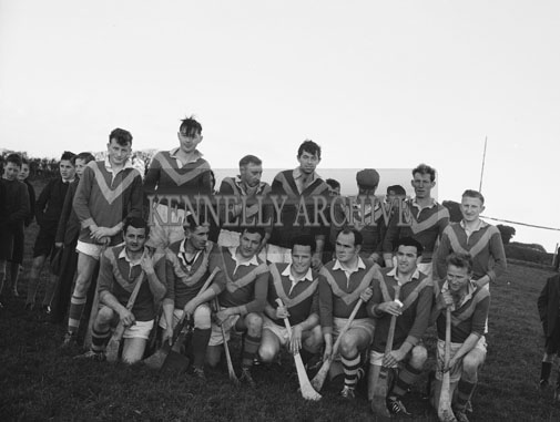 October 1962; Members of the Kilmoyley Hurling Team pose for the camera in Tralee.