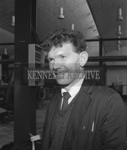 1964; Seamus O'Donnell, one of the workers at the Kerry Precision Ball Factory in Clash poses for the camera.
