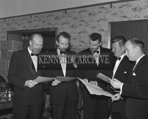 5th May 1964; A group of judges at The Kerry Rose Of Tralee Contest at Ballybunion's Central Ballroom. Austin Stack is on the left, and Florence O'Connor is second from the right.