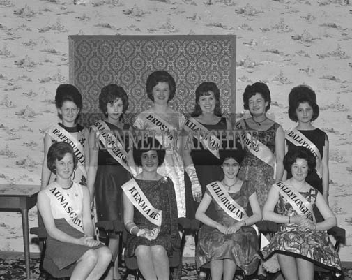 5th May 1964; A Photo of the finalists in The Kerry Rose Of Tralee Contest at Ballybunion's Central Ballroom, where Breda Gaine from Kenmare won the Kerry Rose title.