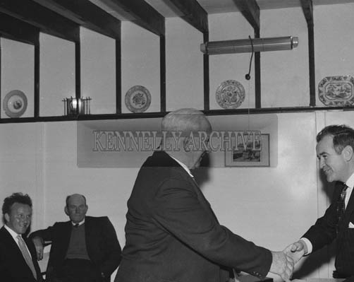 16th May 1964; The chairman of An Board Iascaigh Mhara, Mr Brendan O'Kelly shakes hands with a member of the Fisherman's Co-operative Society.