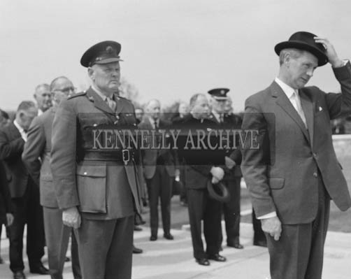 25th May 1964; The official opening of the Kerry Precision Ball Bearing Company in Tralee, attended by the Minister for Industry and Commerce Mr Jack Lynch. The factory was the first of its type in Ireland. He is photographed here inspecting the FCA Guard of Honour.