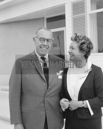 25th May 1964; The Managing Director of The Kerry Precision Ball Bearing Company, Cliff McAleenan at the official opening in Tralee photographed with his wife.