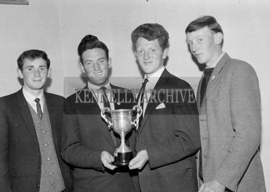 26th/28th May 1964; A photo taken of the Killahan Team who defeated Castleisland in the final of the Kerry County Speaking competition at Killahan. (L-R); Harold Behan, P.J. O'Halloran, Martin O'Halloran and Bernie Behan.