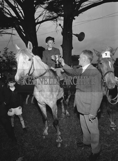 26th/28th May 1964; A photo taken of one of the winners at the Showjumping Events at the Kingdom County Fair in Tralee.