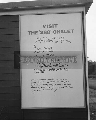 May 1964;  A photo taken of a sign saying Visit the '288' Chalet.