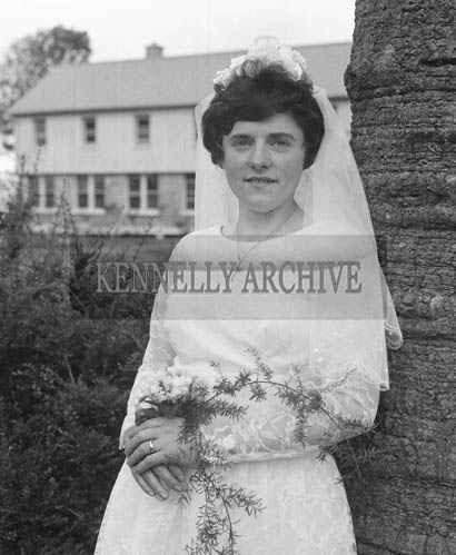 June 1964; A photo taken of the bride on her Wedding Day in St Catherine's Church in Tralee.