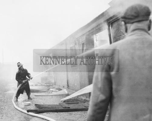 4th June 1964; The furniture store of Mr Thomas Lyons, Boherbee, which was destroyed by fire. Nothing could be salvaged as the damage was so extensive. The local fire brigade remained at the scene for six hours.