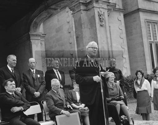 14th June 1964; Dr Hillard speaking at Muckross House in Killarney when the house was opened to the public for the first time since the Elizabethan Mansion was handed over to the State in 1932 by Mr Bowers Bourne and his son-in-law Mr Arthur Vincent.