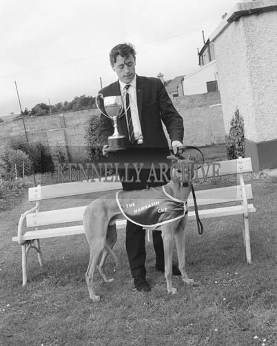 12th June 1964; P J Cronin with his greyhound 'Captain Gambler,' who won the Hannafin Cup and 350 Pounds prize money.